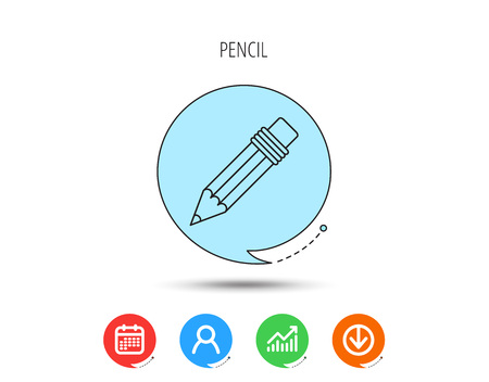 Pencil icon. Drawing tool sign. Calendar, User and Business Chart, Download arrow icons. Speech bubbles with flat signs. Vector