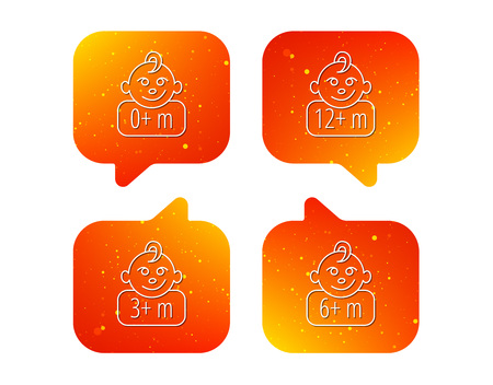 Infant child, 0 months child and toddler baby icons. 0-12 months child linear sign. Orange Speech bubbles with icons set. Soft color gradient chat symbols. Vector  イラスト・ベクター素材
