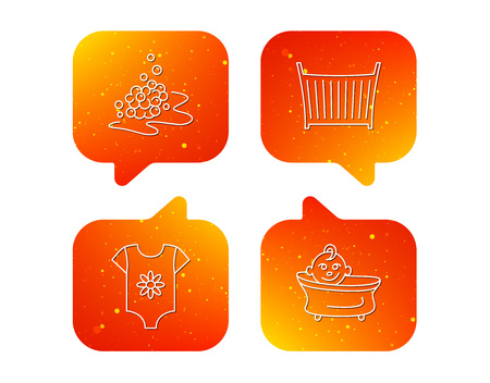 Baby clothes, bath and crib icons. Bath bubbles linear sign. Orange Speech bubbles with icons set. Soft color gradient chat symbols. Vector