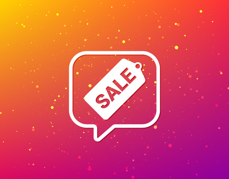 Sale coupon icon. Special offer tag symbol. Soft color gradient background. Speech bubble with flat icon. Vector