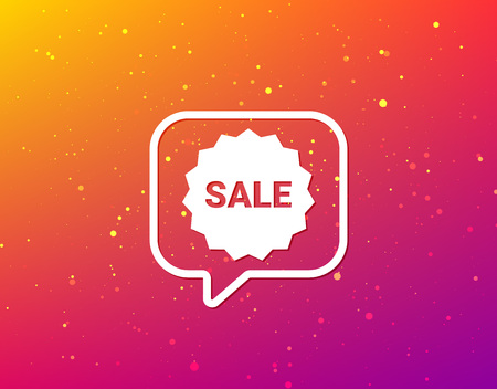 Sale icon. Special offer star symbol. Soft color gradient background. Speech bubble with flat icon. Vector