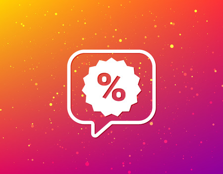 Discount icon. Sale offer star symbol. Soft color gradient background. Speech bubble with flat icon. Vector  イラスト・ベクター素材