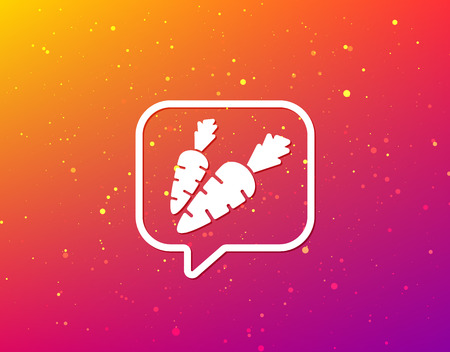 Carrot icon. Fresh natural vegetable symbol. Vegetarian food. Soft color gradient background. Speech bubble with flat icon. Vector