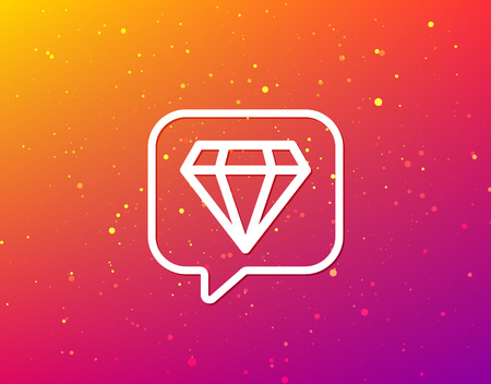 Diamond icon. Jewelry gem symbol. Brilliant jewel sign. Soft color gradient background. Speech bubble with flat icon. Vector