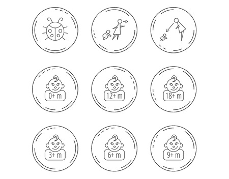 Infant child, ladybug and toddler baby icons. 0-18 months child linear signs. Unattended, parents supervision icons. Linear Circles web buttons with icons. Vector Illustration
