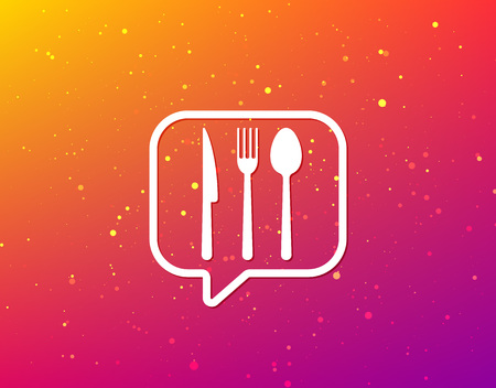 Fork, knife and spoon icons. Cutlery symbol. Soft color gradient background. Speech bubble with flat icon. Vector  イラスト・ベクター素材