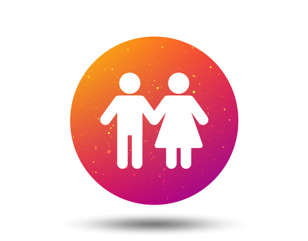 Couple icon. Traditional young family symbol. Circle button with Soft color gradient background. Vector
