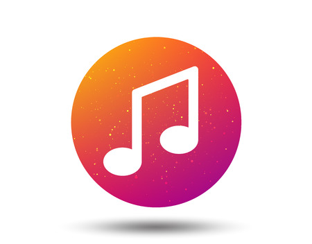 Music icon. Musical note sign. Melody symbol. Circle button with Soft color gradient background. Vector  イラスト・ベクター素材