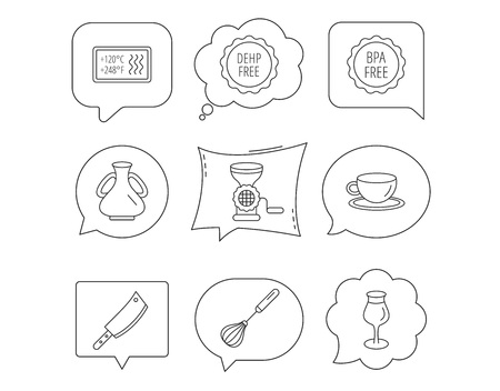 Coffee cup, butcher knife and wineglass icons. Meat grinder, whisk and vase linear signs. Heat-resistant, DEHP and BPA free icons. Linear Speech bubbles with icons set. Comic chat balloon. Vector