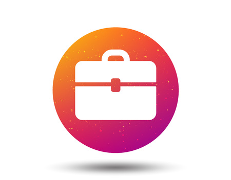 Briefcase icon. Diplomat handbag symbol. Business case sign. Circle button with Soft color gradient background. Vector