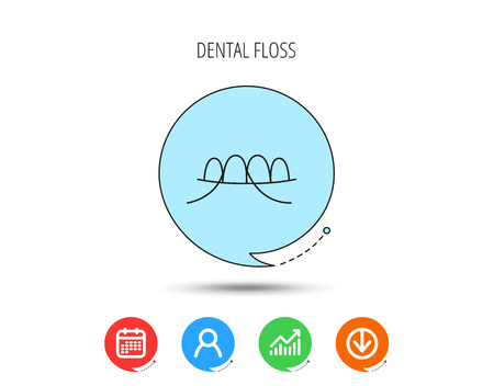 Dental floss icon. Teeth cleaning sign. Oral hygiene symbol. Calendar, User and Business Chart, Download arrow icons. Speech bubbles with flat signs. Vector