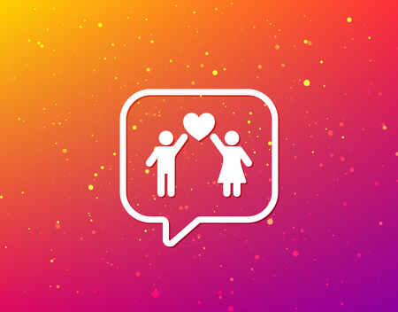 Couple love icon. Traditional young family symbol. Soft color gradient background. Speech bubble with flat icon. Vector