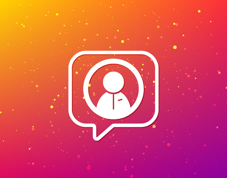 User icon. Human person symbol. Soft color gradient background. Speech bubble with flat icon. Vector