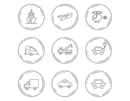 Transportation icons. Car, ship and truck linear signs. Airplane, helicopter and evacuator flat line icons. Linear Circles web buttons with icons. Vector