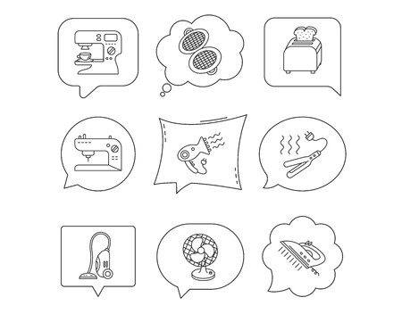 Coffee maker, sewing machine and toaster icons. Ventilator, vacuum cleaner linear signs. Hair dryer, steam ironing and waffle-iron icons. Linear Speech bubbles with icons set. Comic chat balloon