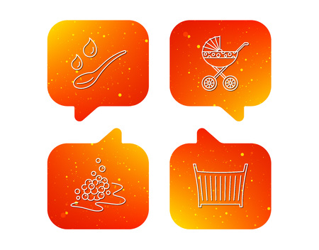 Pram carriage, spoon and drops icons. Bubbles, crib bed linear signs. Orange Speech bubbles with icons set. Soft color gradient chat symbols. Vector