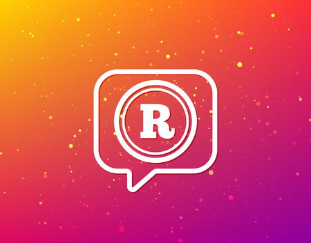 Registered trademark icon. Intellectual work protection symbol. Soft color gradient background. Speech bubble with flat icon. Vector