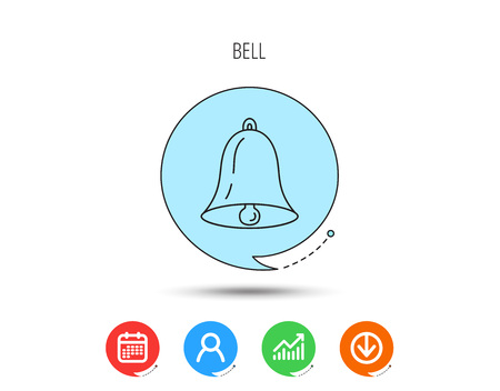 Bell icon. Sound sign. Alarm handbell symbol. Calendar, User and Business Chart, Download arrow icons. Speech bubbles with flat signs. Vector Illustration