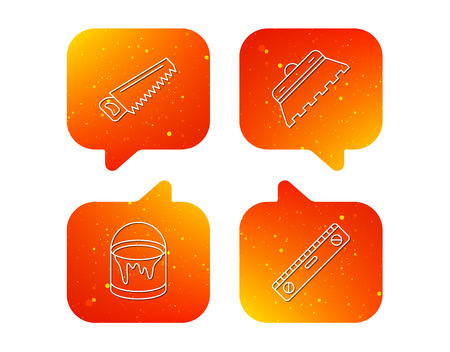 Trowel for tile, saw and level measure icons. Bucket of paint linear sign. Orange Speech bubbles with icons set. Soft color gradient chat symbols. Vector 向量圖像