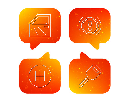 Car key, warning and manual gearbox icons. Car door, transmission linear signs. Orange Speech bubbles with icons set. Soft color gradient chat symbols. Vector Illustration