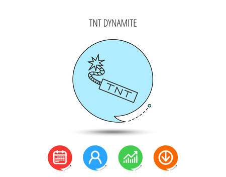 TNT dynamite icon. Bomb explosion sign. Calendar, User and Business Chart, Download arrow icons. Speech bubbles with flat signs. Vector Illustration