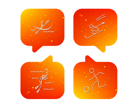 Diving, football and skiing icons. Kayaking linear sign. Orange Speech bubbles with icons set. Soft color gradient chat symbols. Vector