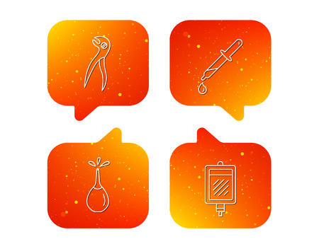 Blood donation, pipette and dental pliers icons. Clyster linear sign. Orange Speech bubbles with icons set. Soft color gradient chat symbols. Vector