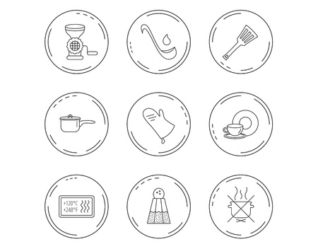 Soup ladle, potholder and kitchen utensils icons. Salt, not boil and saucepan linear signs. Meat grinder, water drop and coffee cup icons. Linear Circles web buttons with icons. Vector