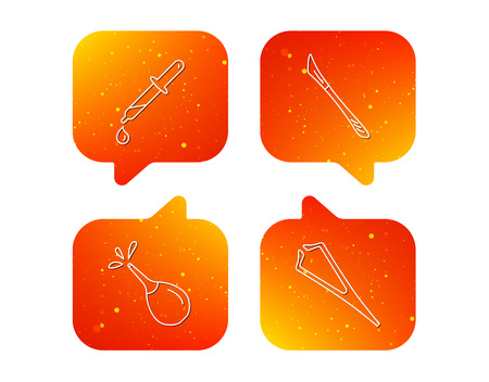Pipette, medical scalpel and clyster icons. Tweezers linear sign. Orange Speech bubbles with icons set. Soft color gradient chat symbols. Vector