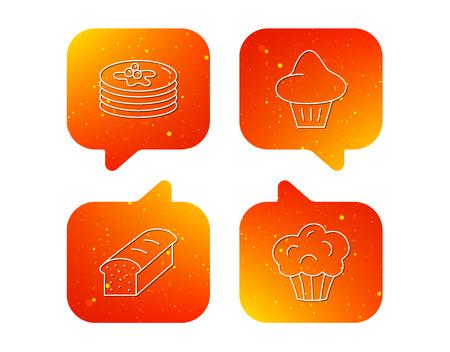 Naleśniki, bułeczki brioche i ikony chleba tostowego. Ciastko liniowy znak. Pomarańczowy dymki z zestawem ikon. Miękkie symbole czatu gradientu kolorów. Wektor