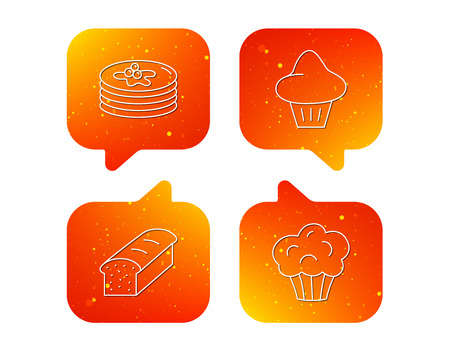 Pancakes, brioche muffin and toast bread icons. Cupcake linear sign. Orange Speech bubbles with icons set. Soft color gradient chat symbols. Vector