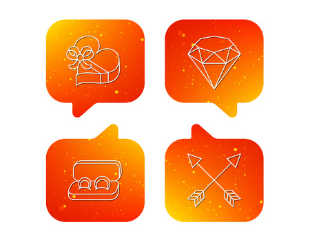 Brilliant, gift box and wedding rings icons. Arrows linear signs. Orange Speech bubbles with icons set. Soft color gradient chat symbols. Vector