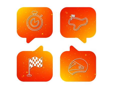 Race flag, timer and motorcycle helmet icons. Race lap linear sign. Orange Speech bubbles with icons set. Soft color gradient chat symbols. Vector Illustration