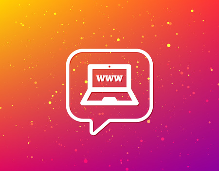 Computer icon. Notebook or laptop pc symbol. Soft color gradient background. Speech bubble with flat icon. Vector Illustration
