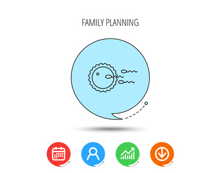 Family planning icon. Fertilization sign. Calendar, User and Business Chart, Download arrow icons. Speech bubbles with flat signs. Vector