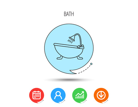 Bathroom icon. Bath with shower sign. Calendar, User and Business Chart, Download arrow icons. Speech bubbles with flat signs. Vector