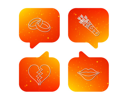Broken heart, kiss and wedding rings icons. Valentine amour arrows linear sign. Orange Speech bubbles with icons set. Soft color gradient chat symbols. Vector Stock Illustratie