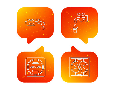 Ventilation, water counter icons. Save water, counter linear signs. Orange Speech bubbles with icons set. Soft color gradient chat symbols. Vector Ilustracja