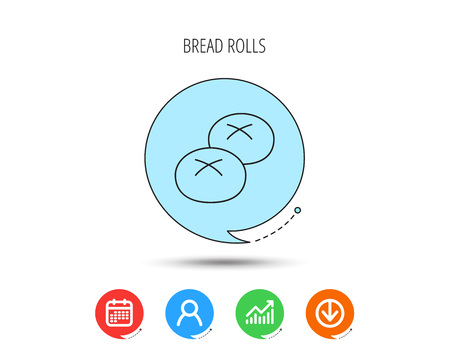 Bread rolls or buns icon. Natural food sign. Bakery symbol. Calendar, User and Business Chart, Download arrow icons. Speech bubbles with flat signs. Vector Ilustração