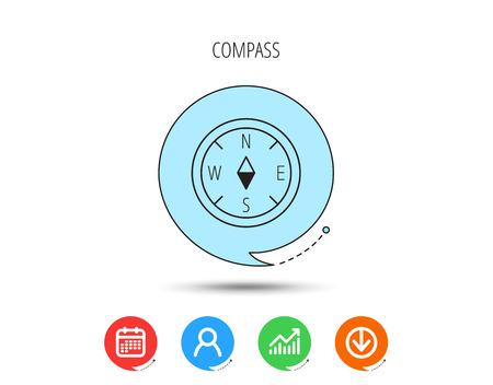 Icona di navigazione bussola. Segno di orientamento geografico Calendario, utente e grafico aziendale, icone freccia di download. Bolle di discorso con segni piatti. Vettore Vettoriali