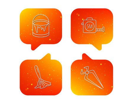 Tape measure, bucket of paint and paint brush icons. Nippers linear sign. Orange Speech bubbles with icons set. Soft color gradient chat symbols. Vector