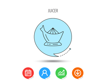 Juicer icon. Squeezer sign. Kitchen electric tool symbol. Calendar, User and Business Chart, Download arrow icons. Speech bubbles with flat signs. Vector
