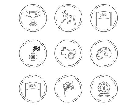Winner cup and award icons. Race flag, motorcycle helmet and timer linear signs. Road travel, finish and start flat line icons. Linear Circles web buttons with icons. Vector Illustration