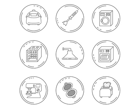 Dishwasher, washing machine and blender icons. Kitchen hood, coffee maker and toaster linear signs. Oven, multicooker and waffle-iron icons. Linear Circles web buttons with icons. Vector