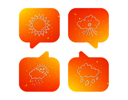 Weather, sun and wind icons. Rainy day linear sign. Orange Speech bubbles with icons set. Soft color gradient chat symbols. Vector Çizim