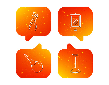 Beaker, blood and dental pliers icons. Clyster linear sign. Orange Speech bubbles with icons set. Soft color gradient chat symbols. Vector