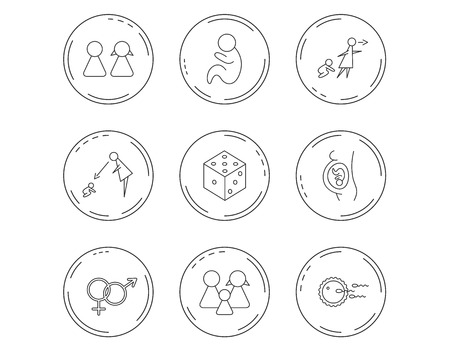 Pregnancy, pediatrics and family planning icons. Under supervision, unattended and baby child linear signs. Dice, male and female icons. Linear Circles web buttons with icons. Vector