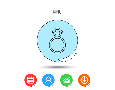 Ring with diamond icon. Jewellery sign. Calendar, User and Business Chart, Download arrow icons. Speech bubbles with flat signs. Vector Illustration