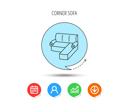 Corner sofa icon. Comfortable couch sign. Furniture symbol. Calendar, User and Business Chart, Download arrow icons. Speech bubbles with flat signs. Vector