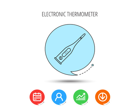 Electronic thermometer icon. Measurement tool sign. Temperature control symbol. Calendar, User and Business Chart, Download arrow icons. Speech bubbles with flat signs. Vector